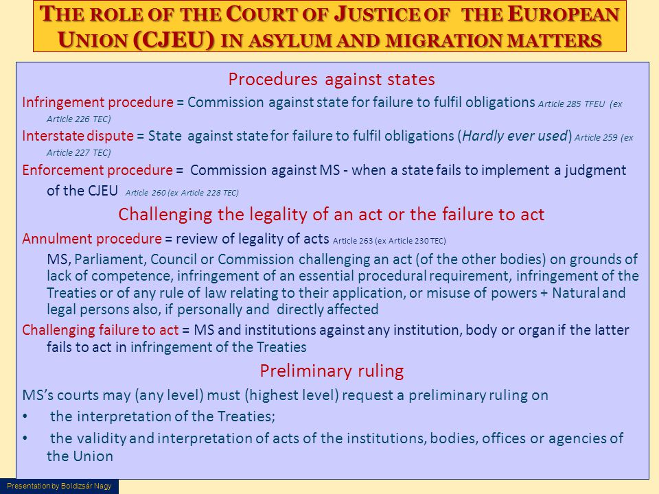 The role of the Court of Justice of the European Union (CJEU) in asylum and migration matters