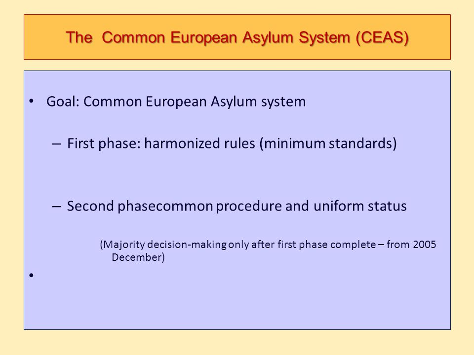 The Common European Asylum System (CEAS)