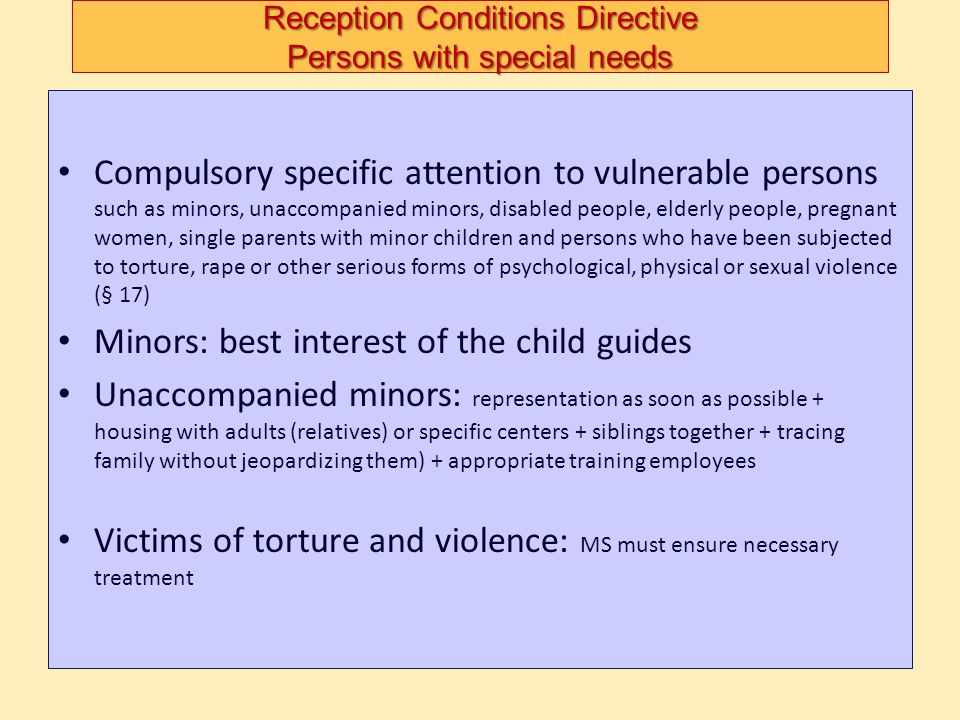 Reception Conditions Directive Persons with special needs