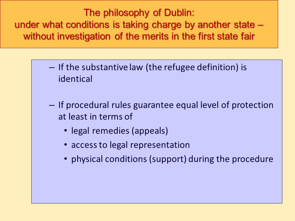 The philosophy of Dublin: under what conditions is taking charge by another state –without investigation of the merits in the first state fair