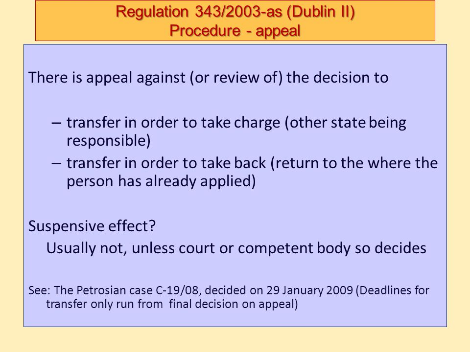 Regulation 343/2003-as (Dublin II) Procedure - appeal