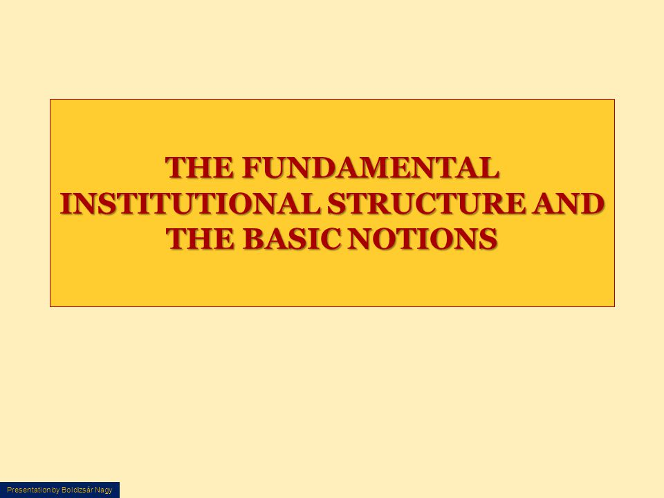THE FUNDAMENTAL INSTITUTIONAL STRUCTURE AND THE BASIC NOTIONS