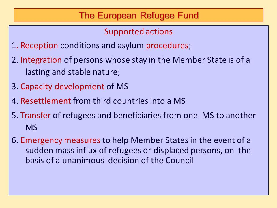 The European Refugee Fund