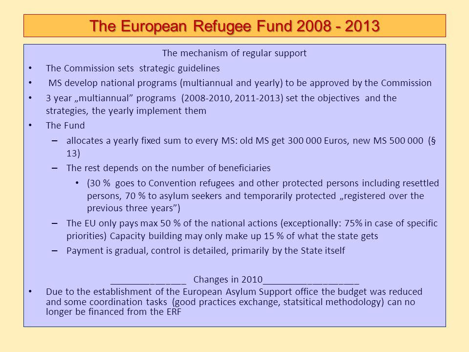 The European Refugee Fund 2008 - 2013