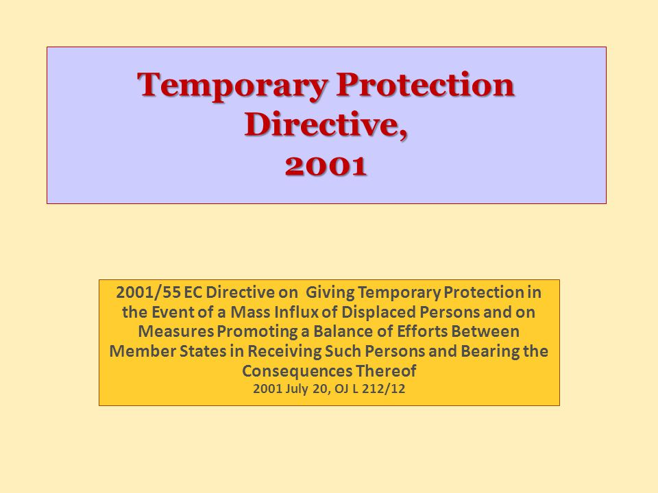 Temporary Protection Directive, 2001
