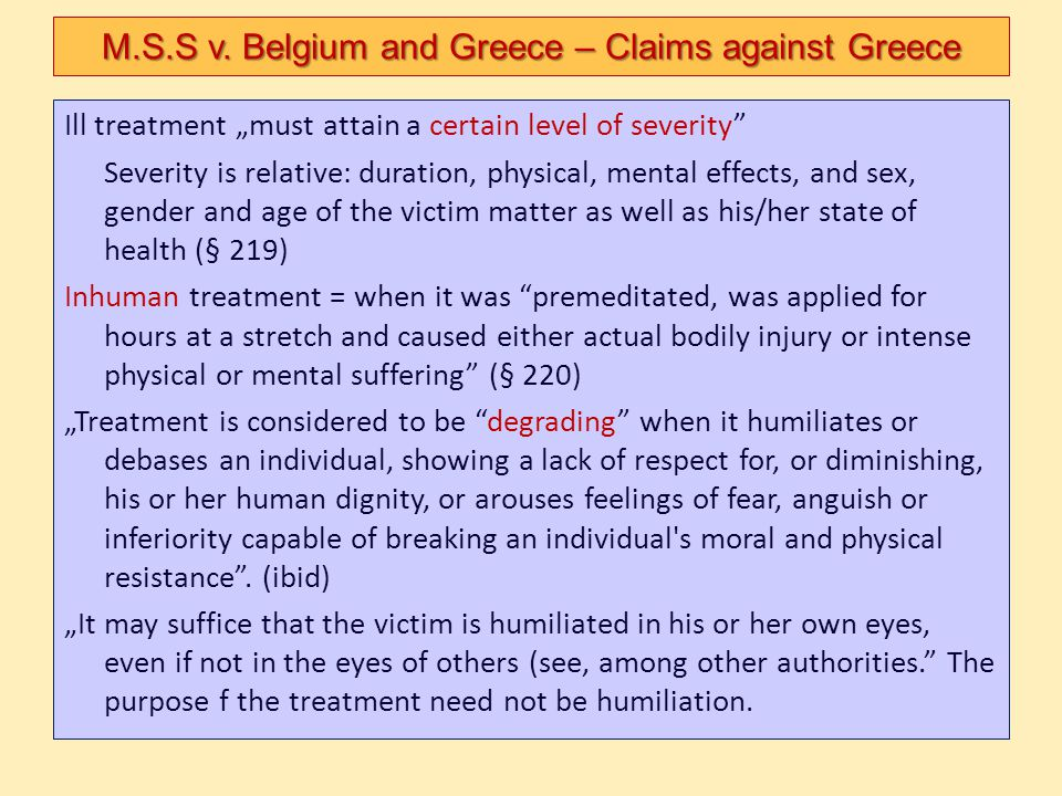 M.S.S v. Belgium and Greece – Claims against Greece