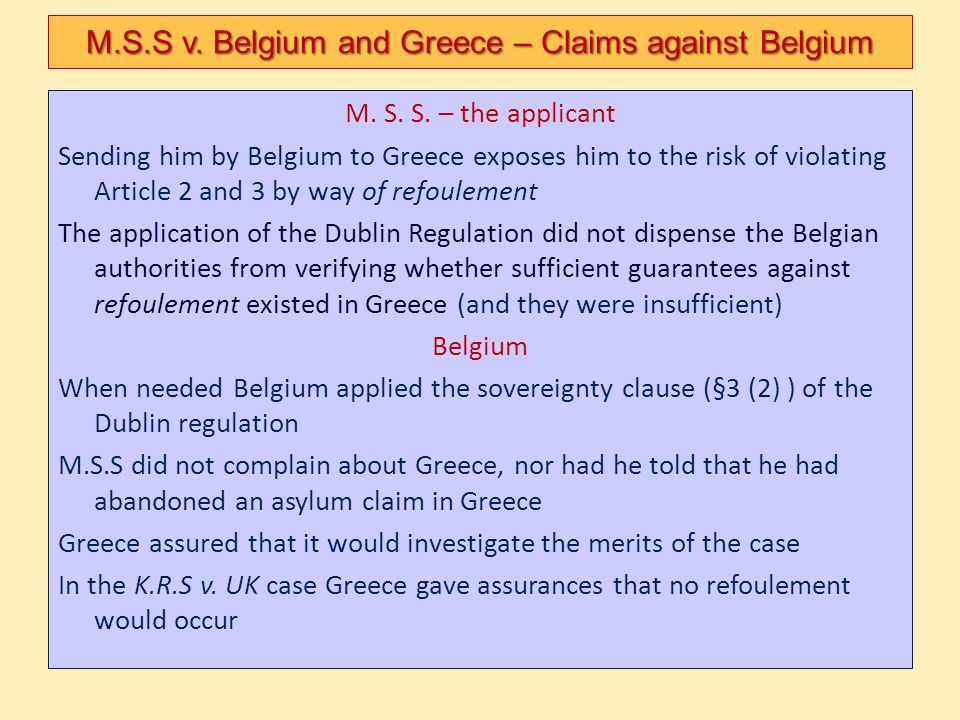 M.S.S v. Belgium and Greece – Claims against Belgium