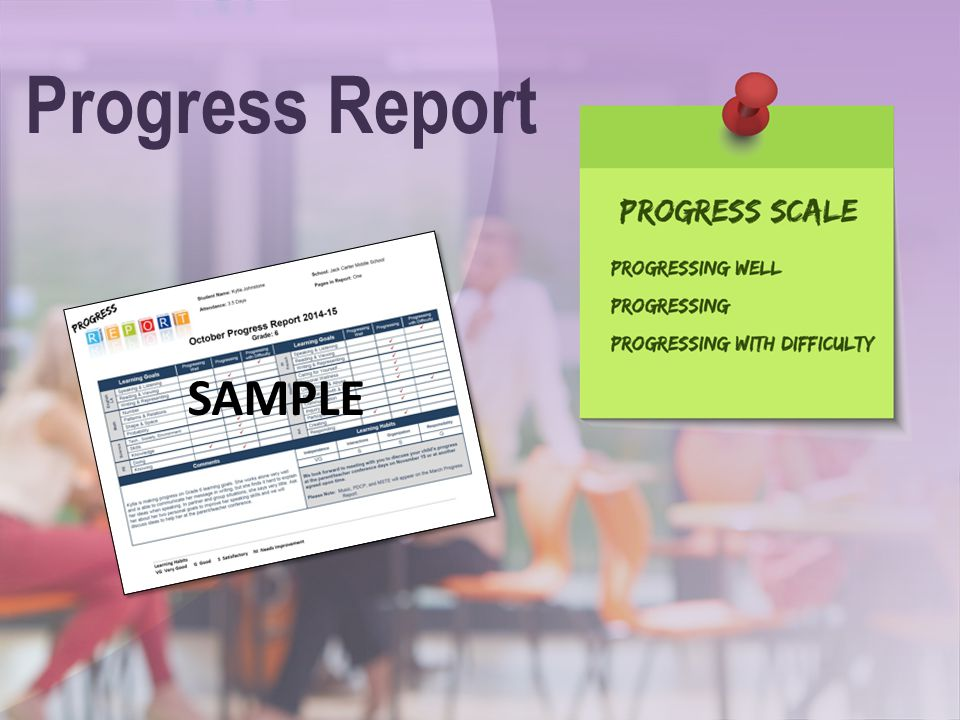 Progress Report SAMPLE Speaking Points: