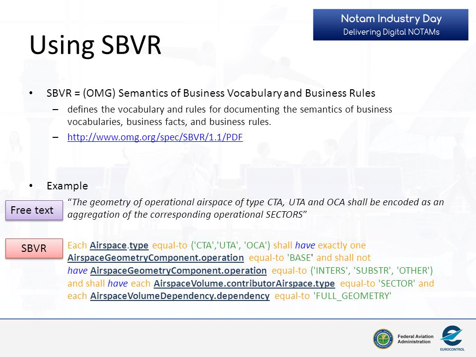 Using SBVR SBVR = (OMG) Semantics of Business Vocabulary and Business Rules.