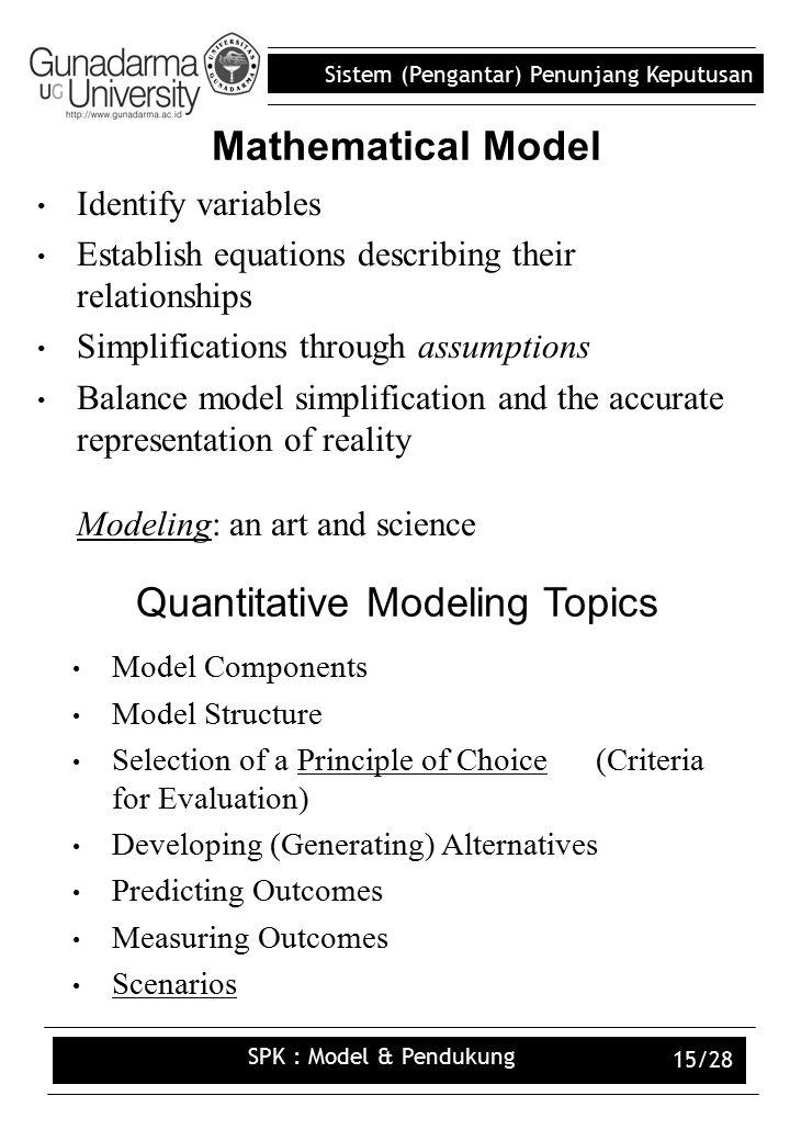Quantitative Modeling Topics
