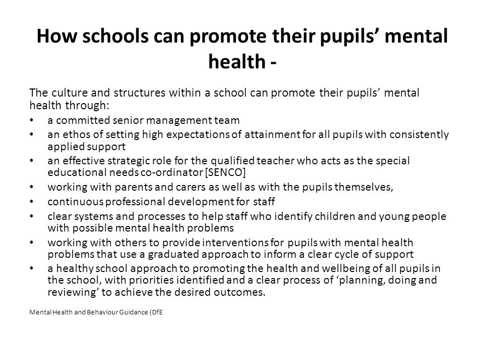 How schools can promote their pupils' mental health -