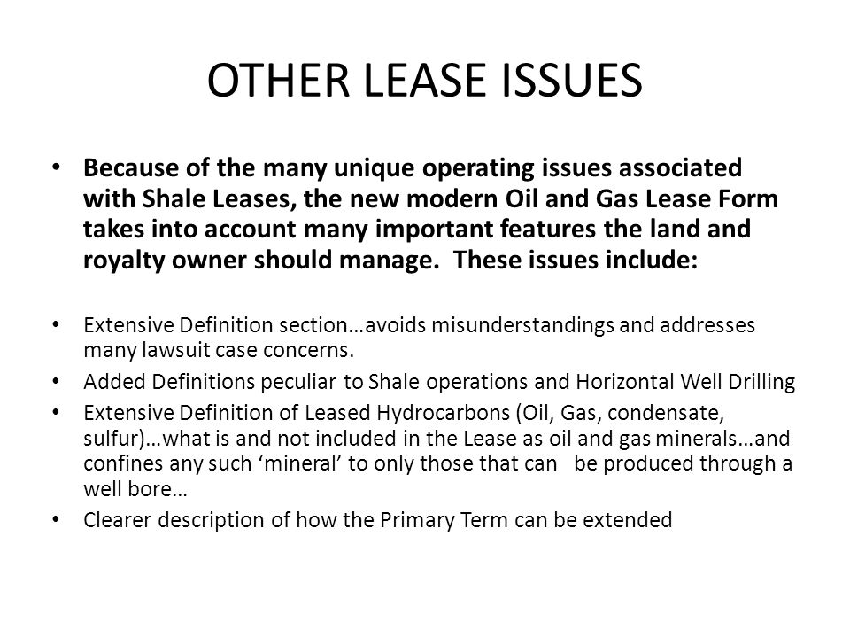 OTHER LEASE ISSUES