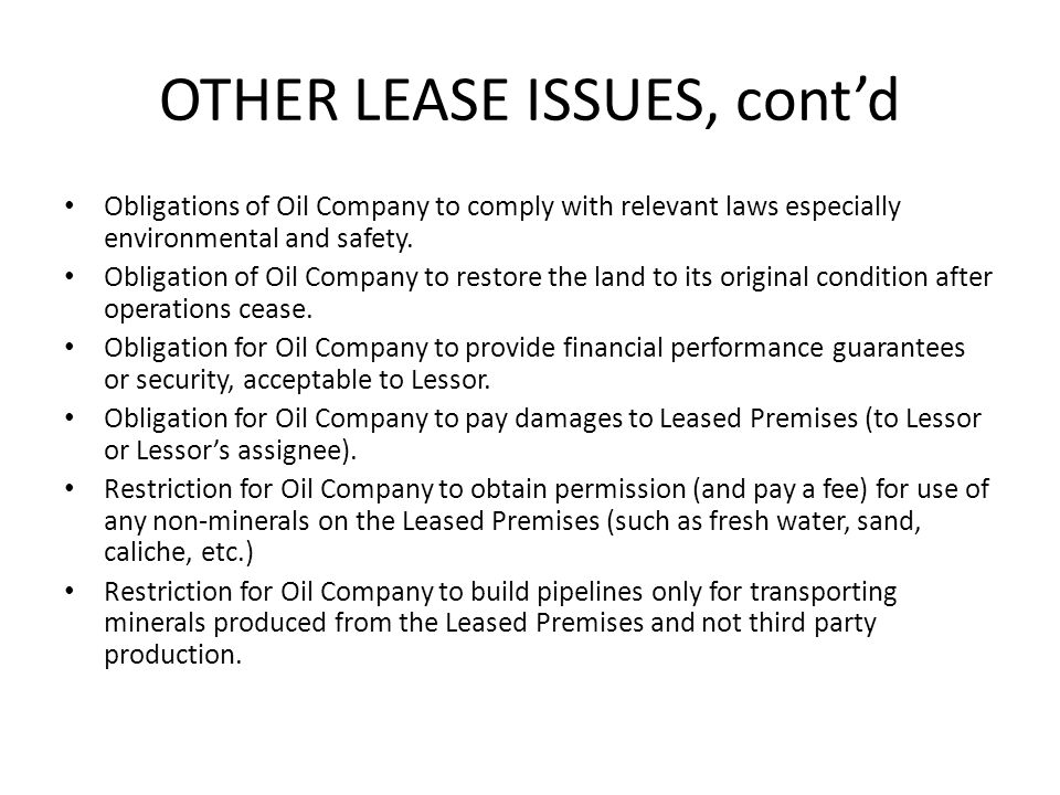 OTHER LEASE ISSUES, cont'd
