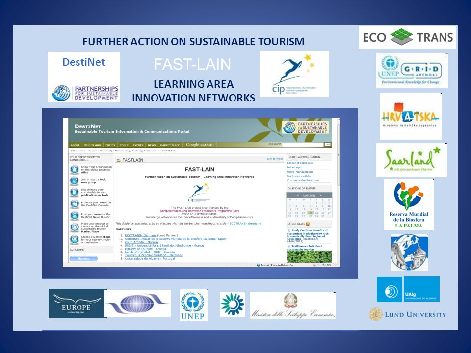 FURTHER ACTION ON SUSTAINABLE TOURISM LEARNING AREA INNOVATION NETWORKS