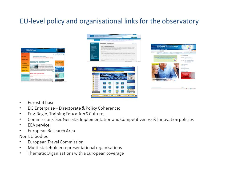 EU-level policy and organisational links for the observatory