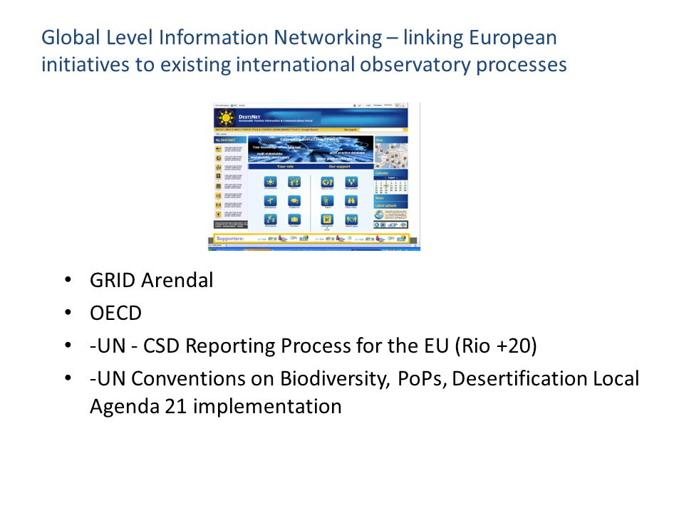 Global Level Information Networking – linking European initiatives to existing international observatory processes