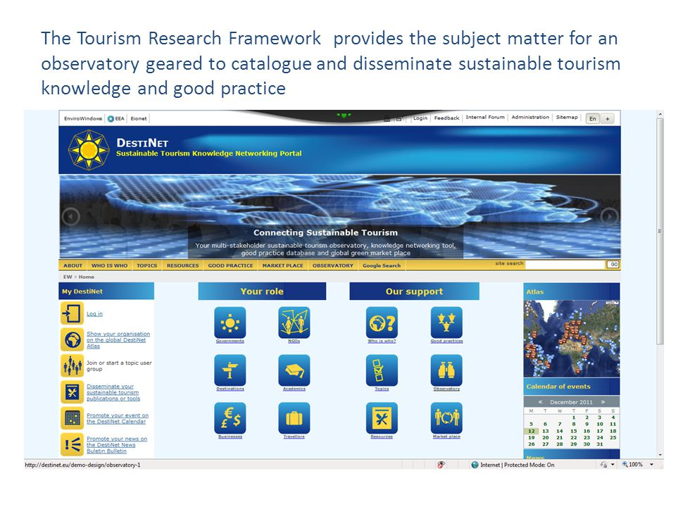 The Tourism Research Framework provides the subject matter for an observatory geared to catalogue and disseminate sustainable tourism knowledge and good practice