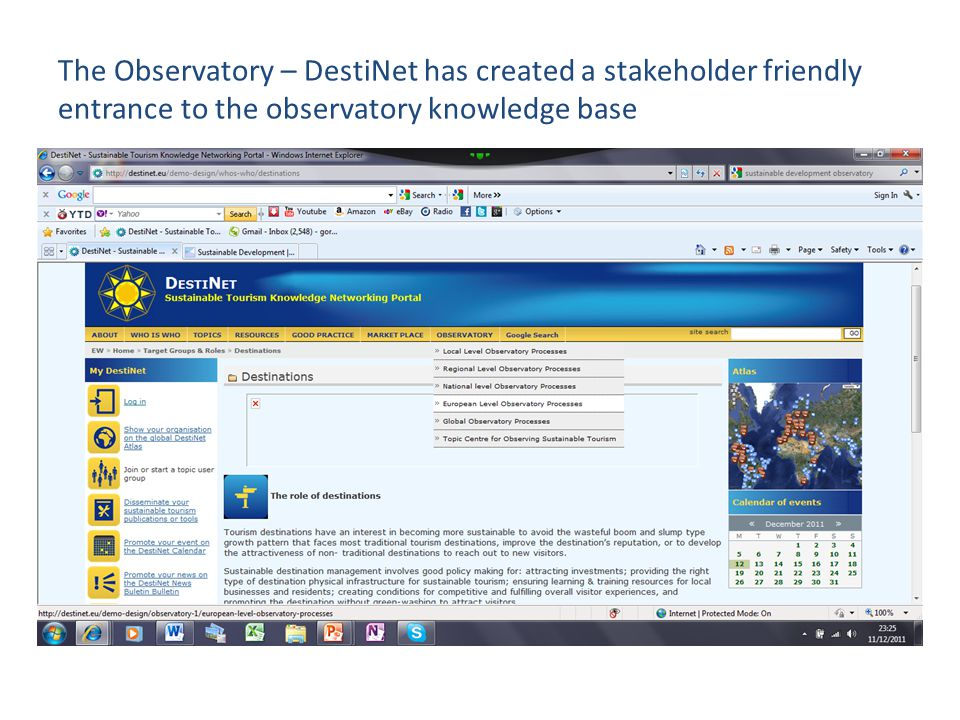 The Observatory – DestiNet has created a stakeholder friendly entrance to the observatory knowledge base