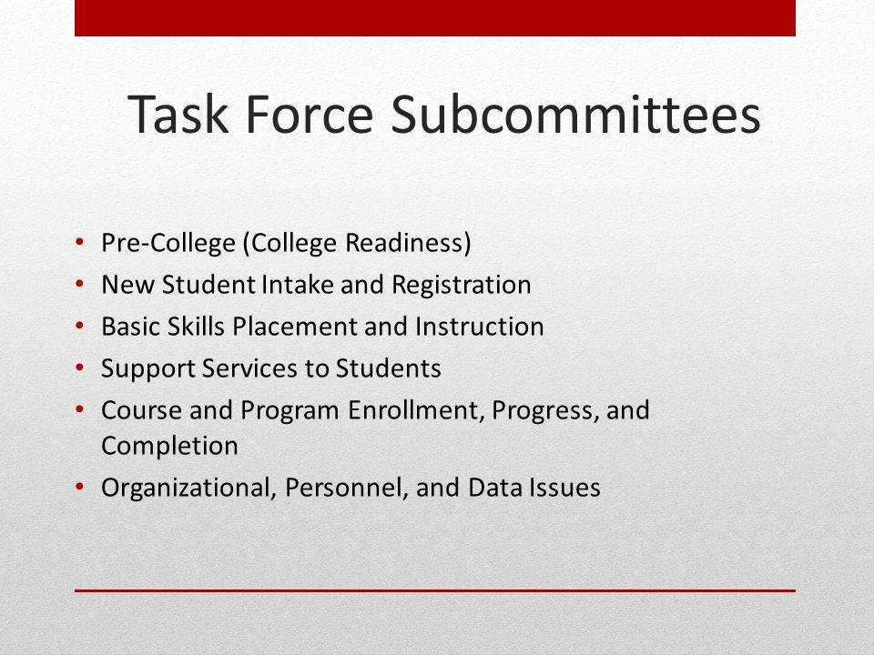 Task Force Subcommittees
