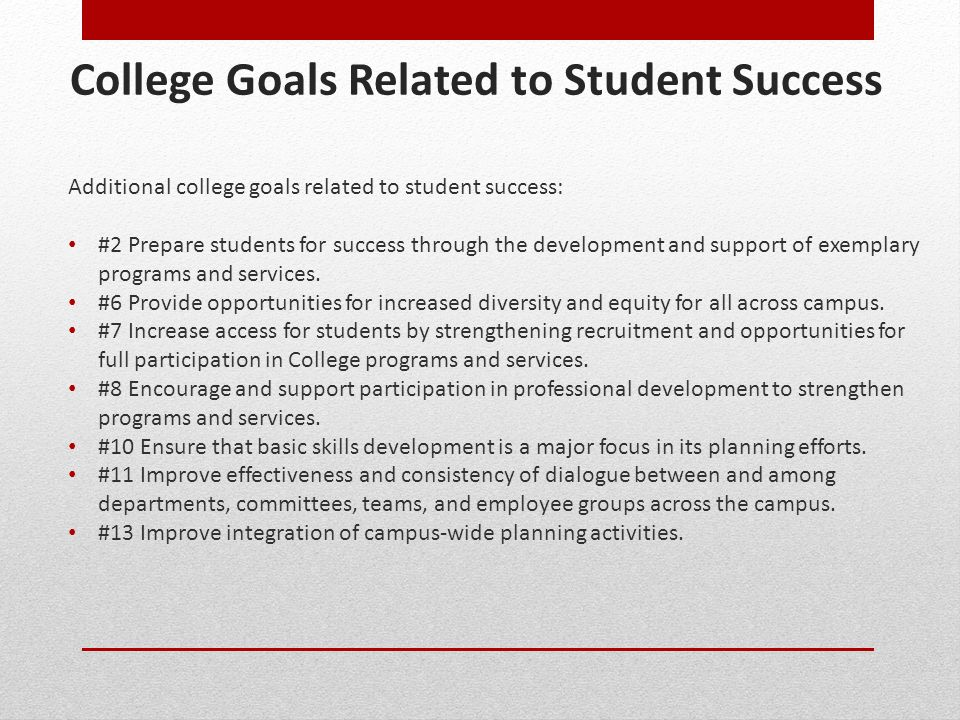College Goals Related to Student Success
