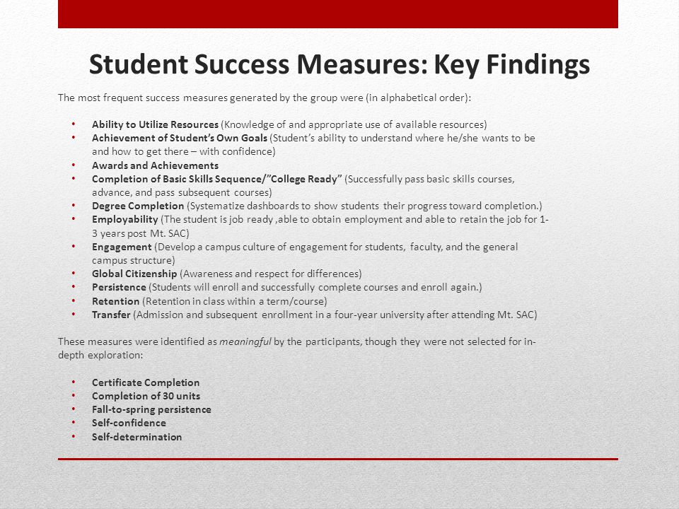 Student Success Measures: Key Findings