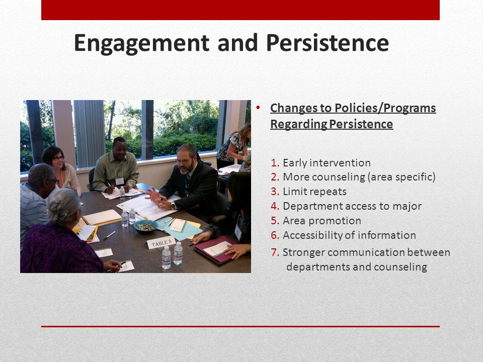 Engagement and Persistence