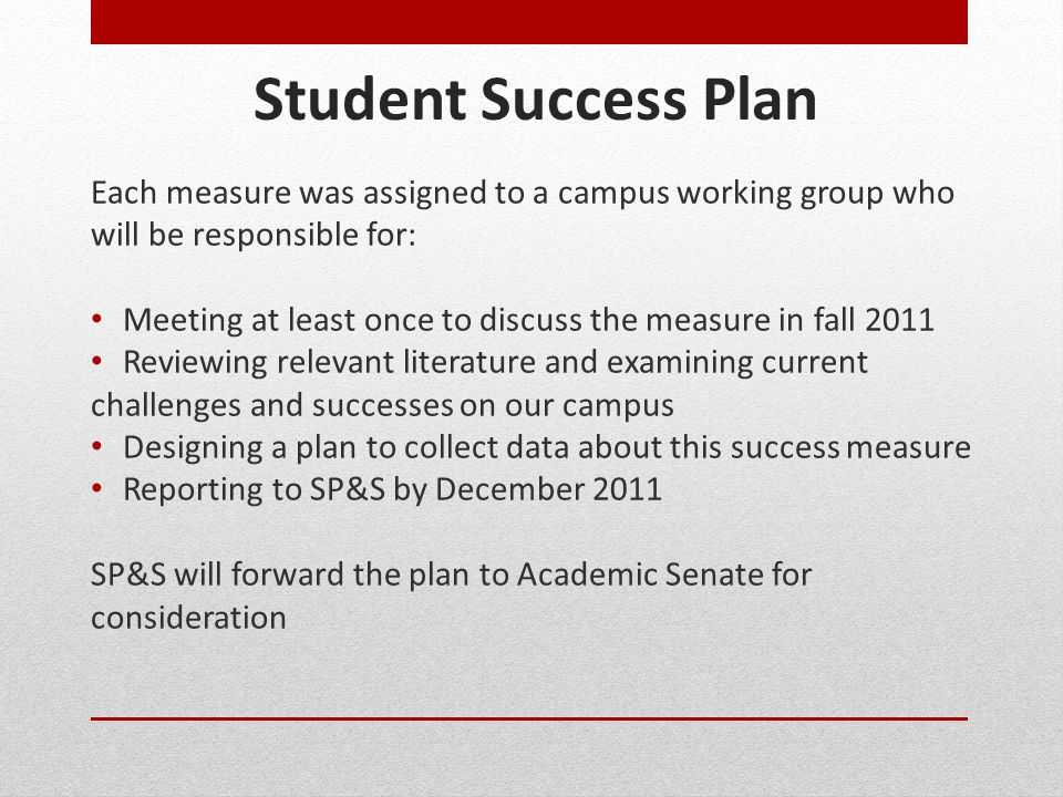 Student Success Plan Each measure was assigned to a campus working group who will be responsible for:
