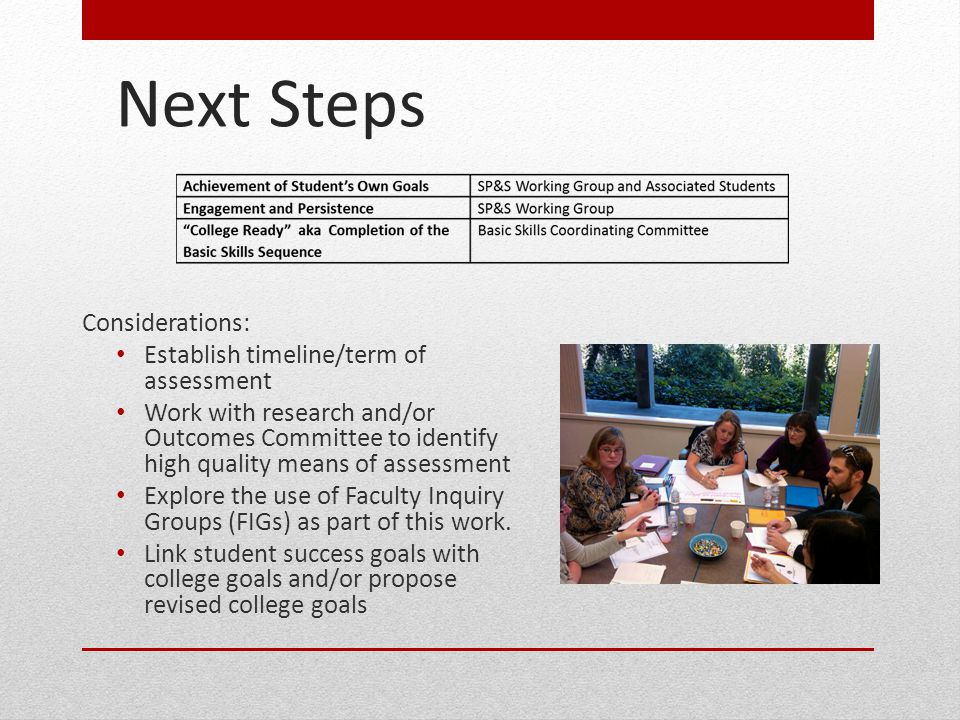 Next Steps Considerations: Establish timeline/term of assessment