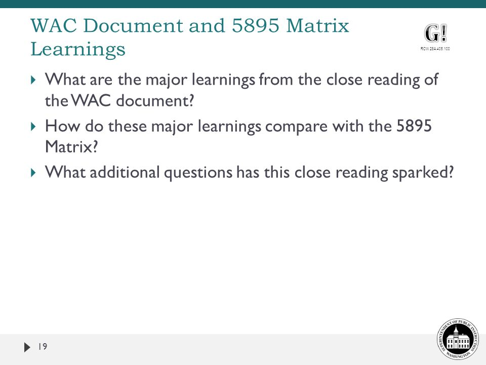 WAC Document and 5895 Matrix Learnings