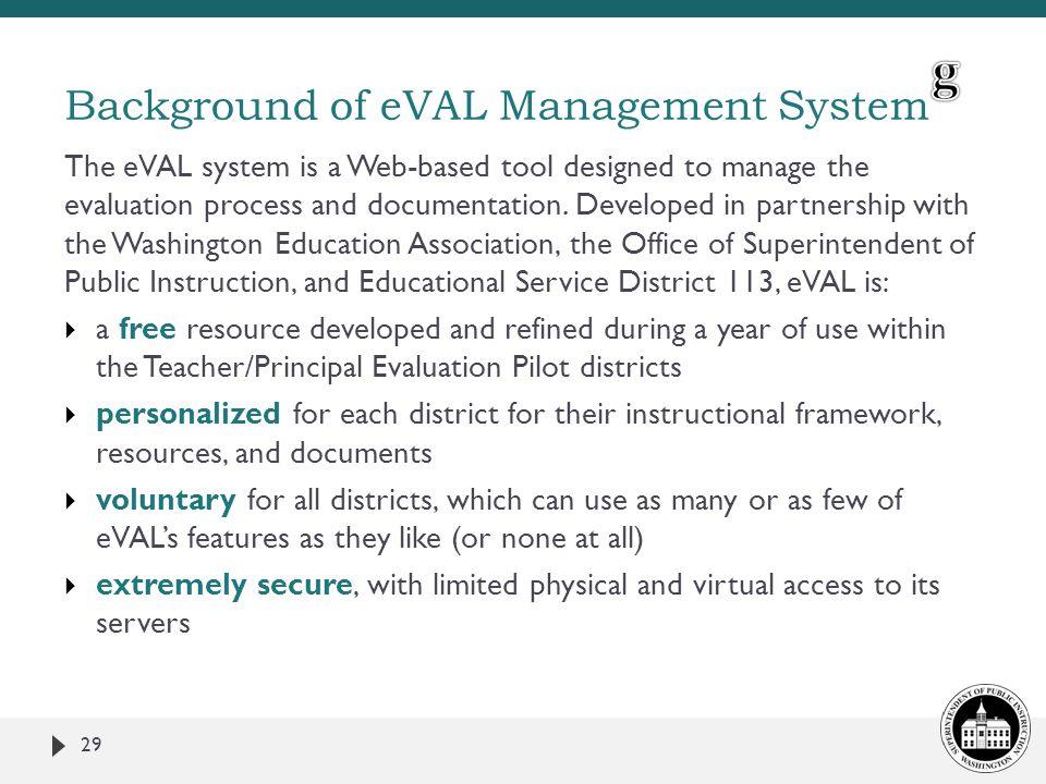 Background of eVAL Management System