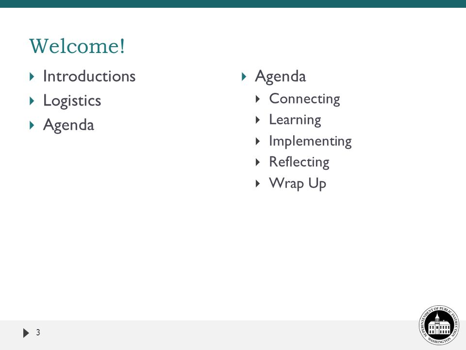 Welcome! Introductions Logistics Agenda Agenda Connecting Learning