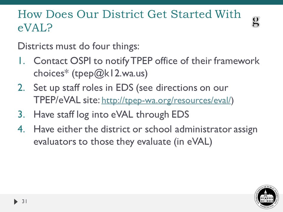 How Does Our District Get Started With eVAL