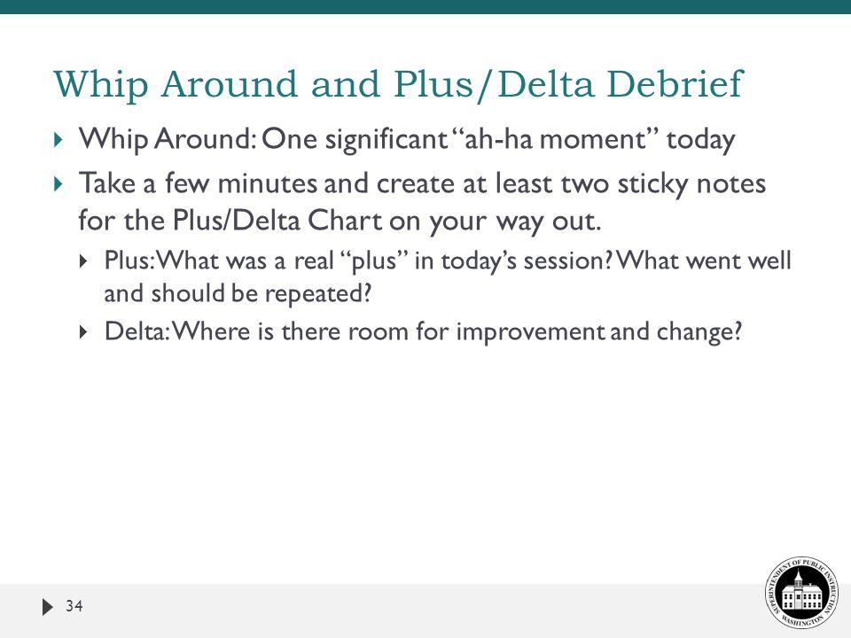 Whip Around and Plus/Delta Debrief