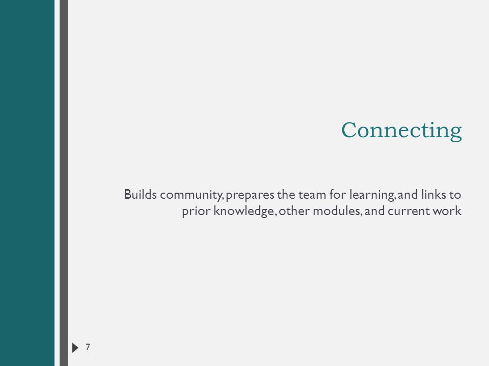 Connecting Builds community, prepares the team for learning, and links to prior knowledge, other modules, and current work.