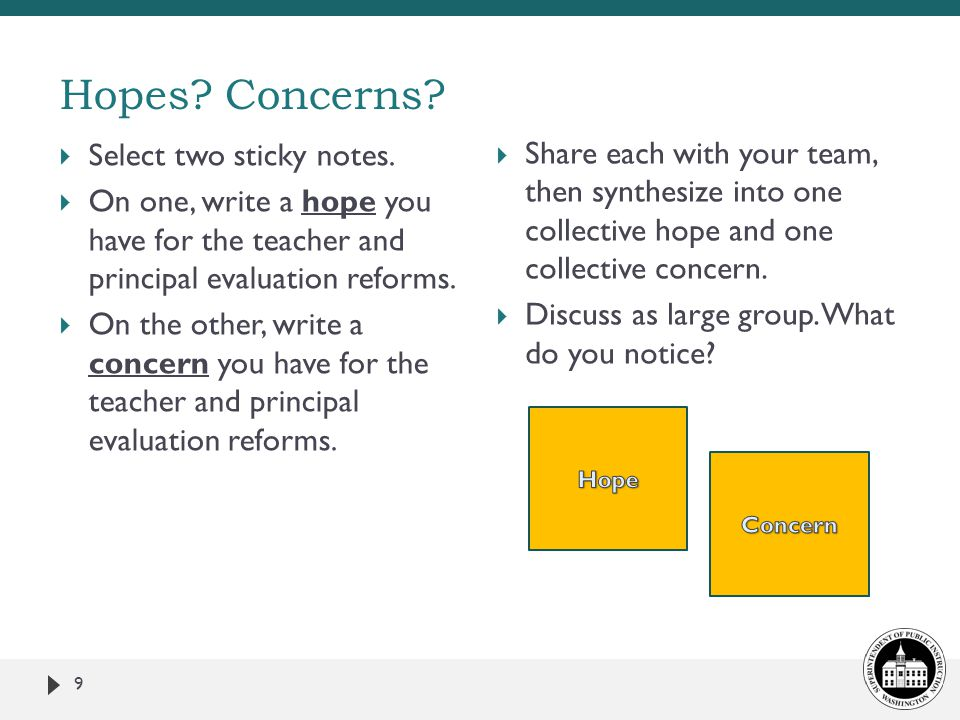 Hopes Concerns Select two sticky notes.