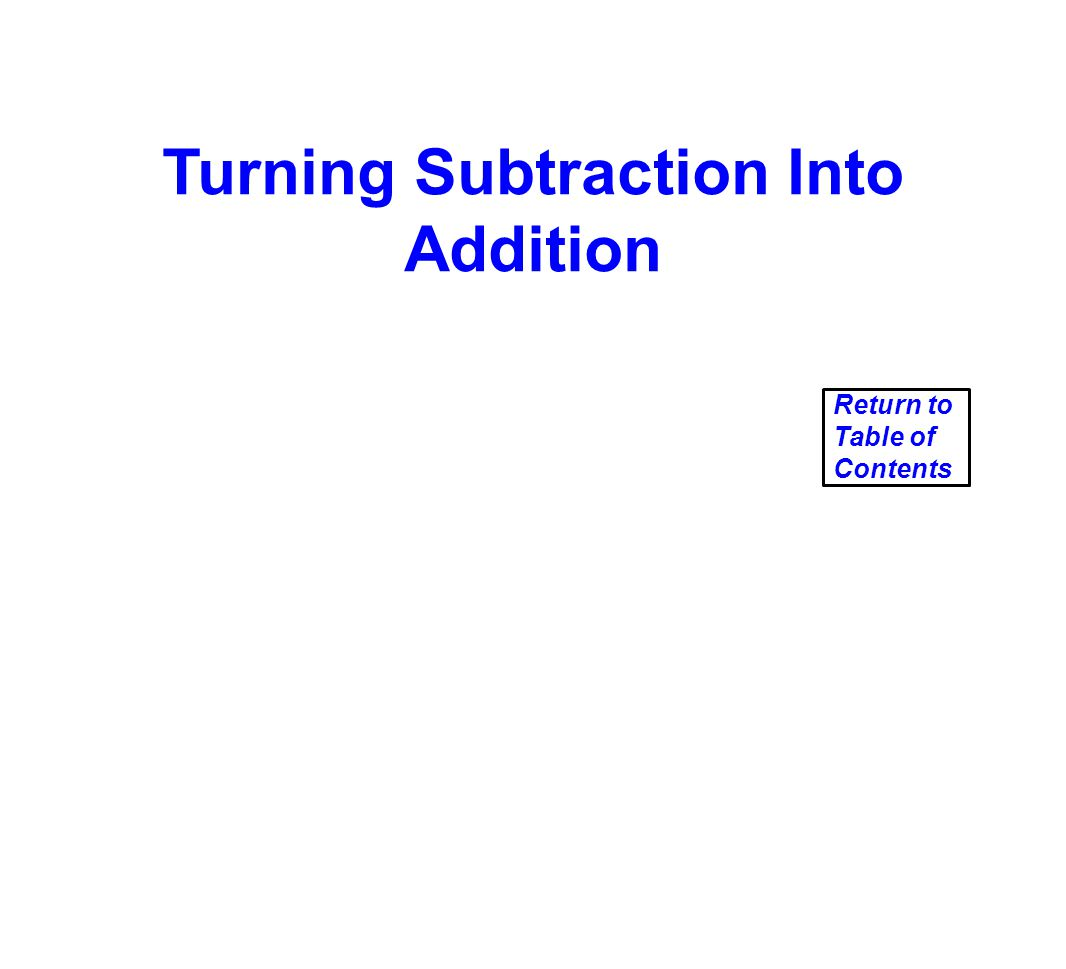 Turning Subtraction Into Addition