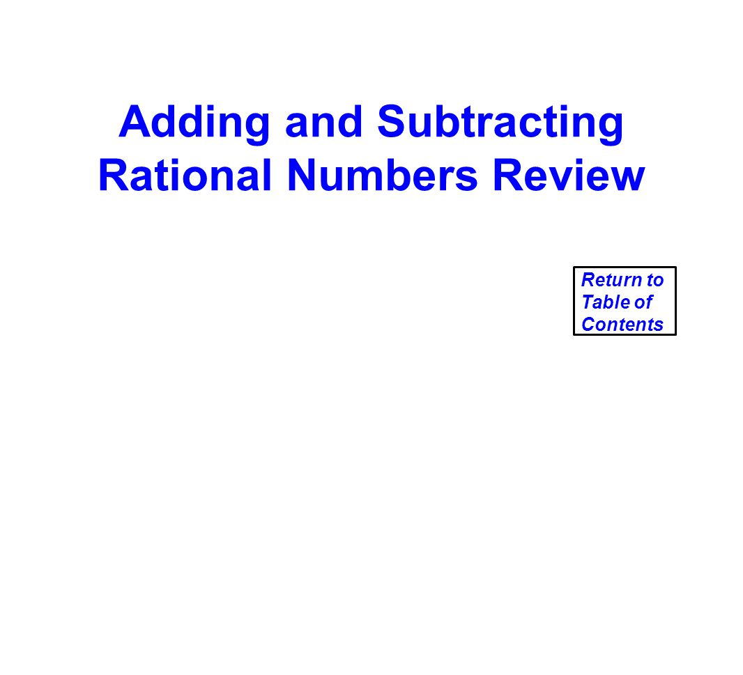 Adding and Subtracting Rational Numbers Review