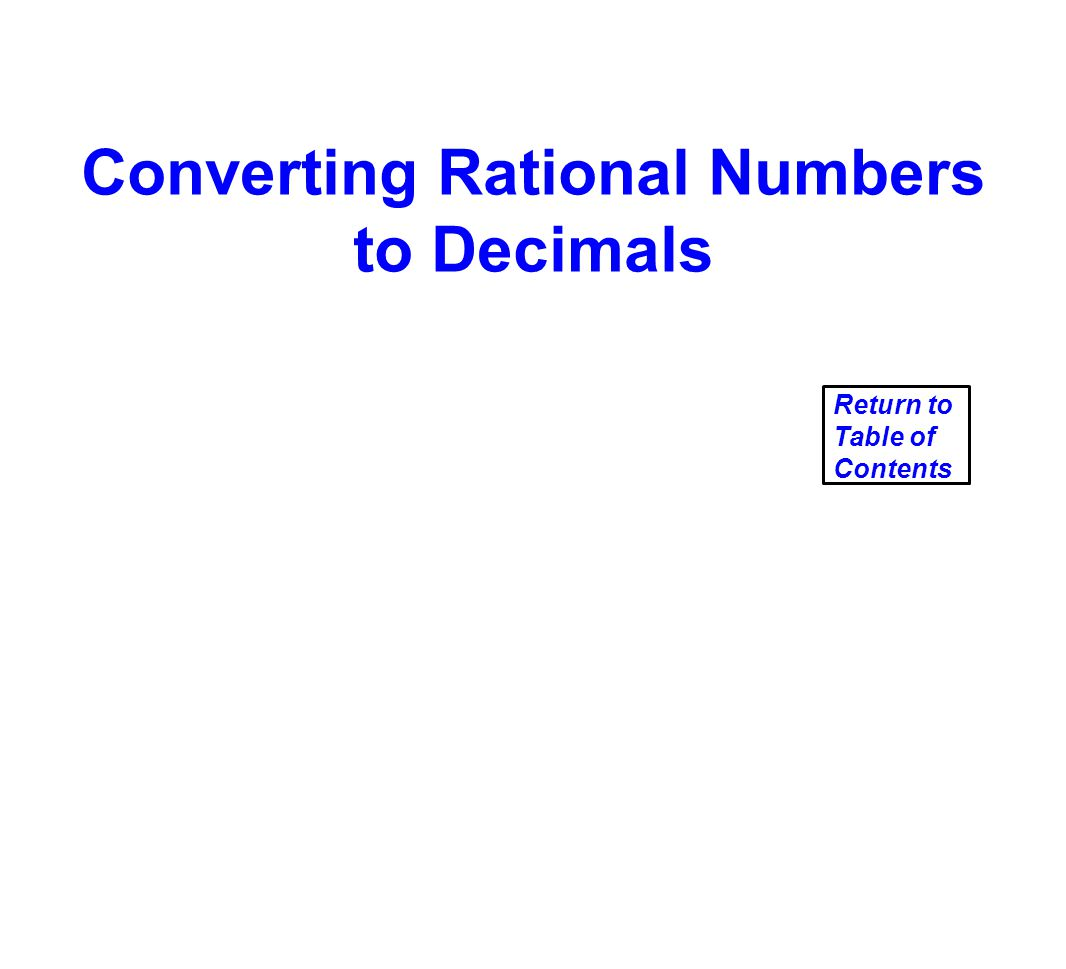 Converting Rational Numbers to Decimals