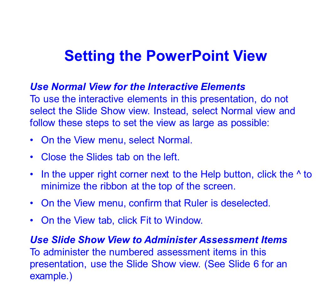 Setting the PowerPoint View