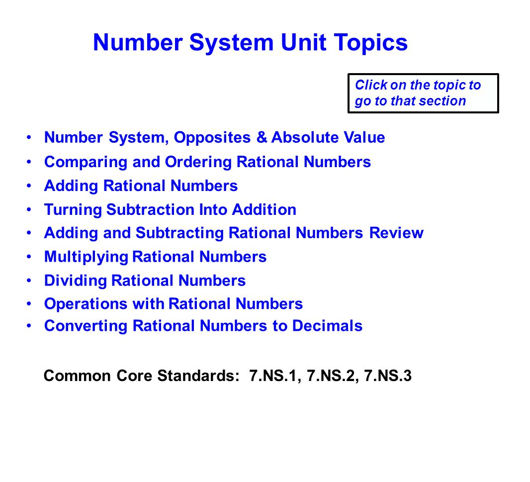 Number System Unit Topics