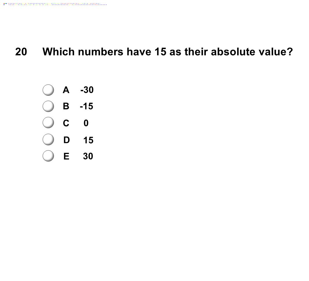 Which numbers have 15 as their absolute value