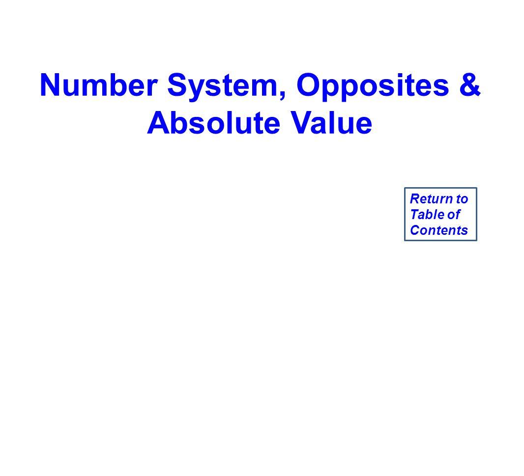 Number System, Opposites &