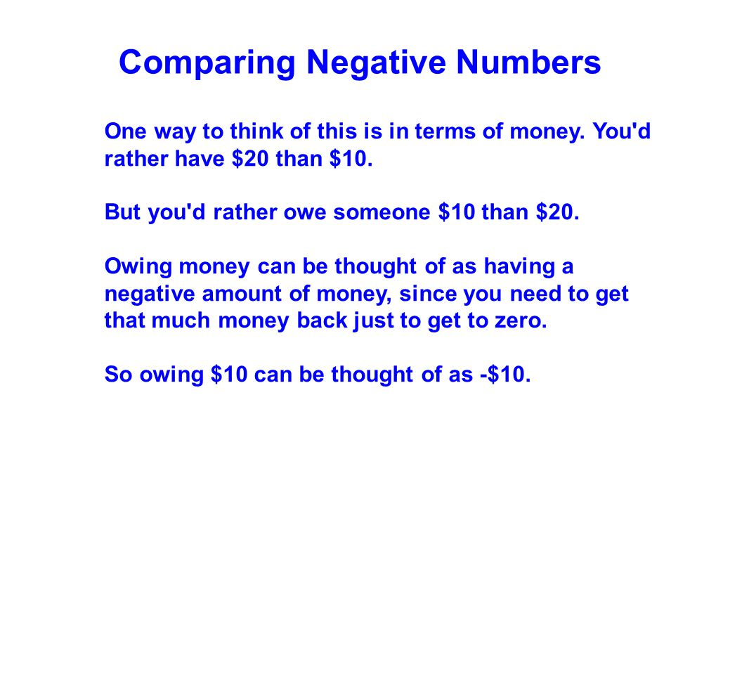 Comparing Negative Numbers