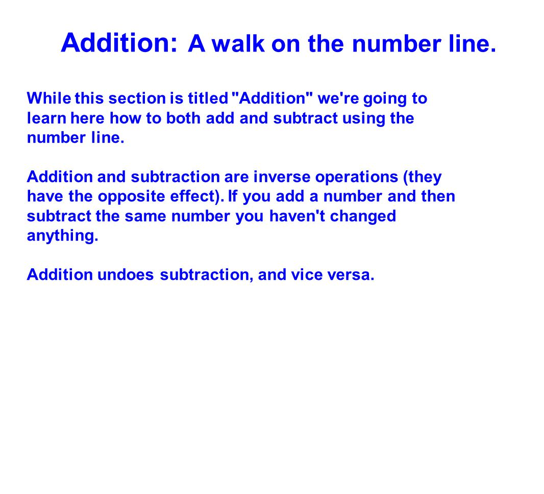 Addition: A walk on the number line.