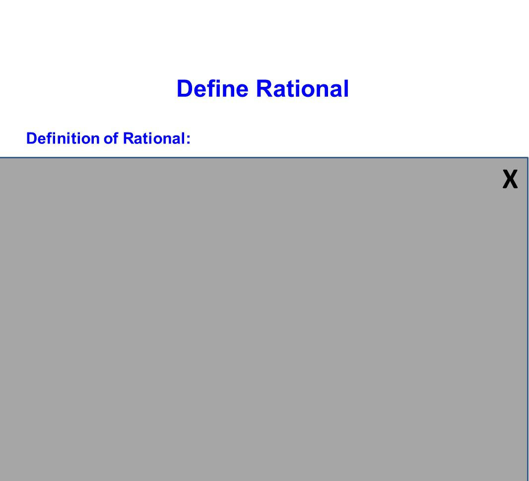 X Define Rational Definition of Rational: