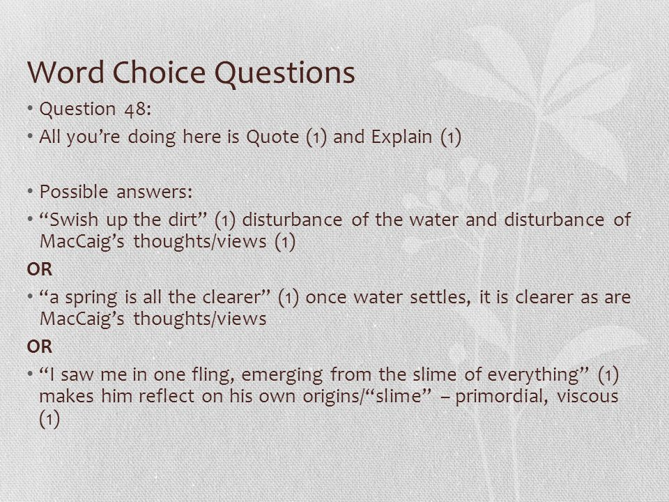 Word Choice Questions Question 48: