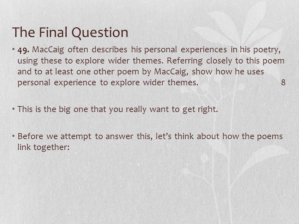 The Final Question