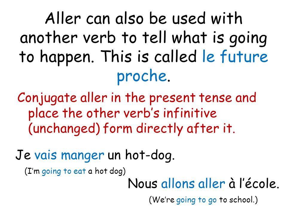 Aller can also be used with another verb to tell what is going to happen. This is called le future proche.