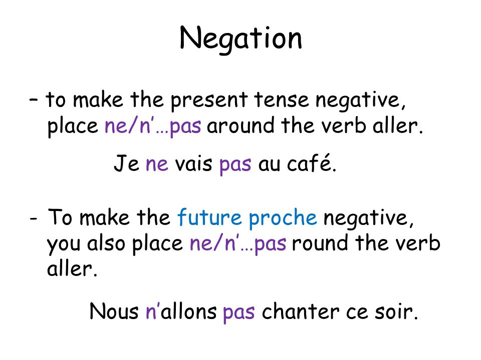 Negation – to make the present tense negative, place ne/n'…pas around the verb aller.