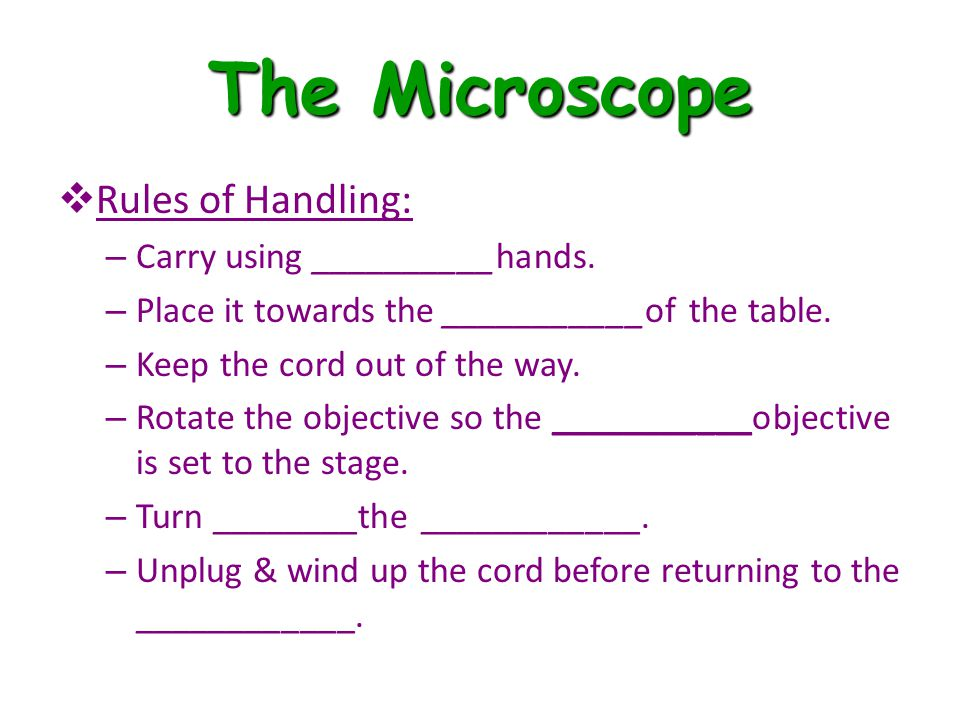The Microscope Rules of Handling: Carry using __________hands.